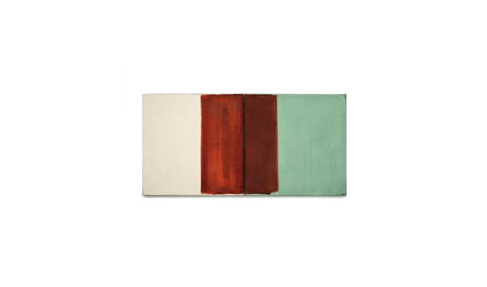 Lichtgewicht 1, 2016, Pigmente auf Lwd, 2 Tafeln je 35x35 | peso della luce 1, pigmenti su tela, 2 tavole cad. 35x35
