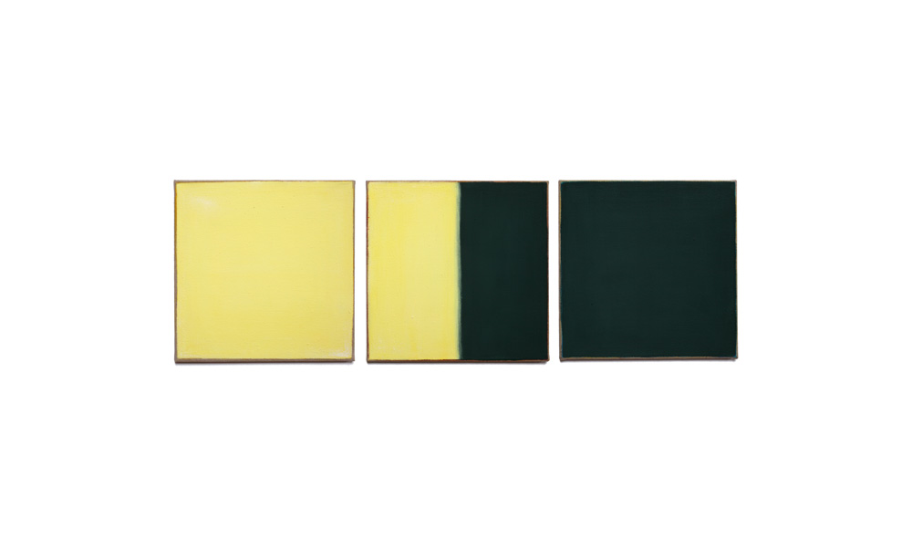 gelb und grün, 2015, Pigmente auf Lwd 3 Tafeln je 35x35 | giallo e verde, pigmenti su tela, 3 tavole cad. 35x35