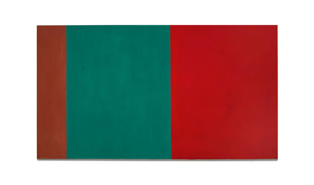 Rot und Grün (laute Stille) 2015, Pigmente auf Lwd, 220x140 | rosso e verde (silenzio forte), pigmenti su tela, 220x140