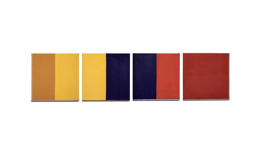 Vertauschung, 2015, Pigmente auf Lwd, 4 Tafeln je 35x35 | scambio, pigmenti su tela, 4 tavole cad. 35x35