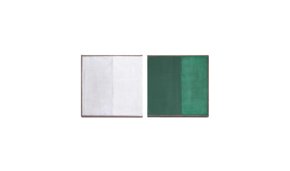 weiß und grün, 2015, Pigmente auf Lwd 2 Tafeln je 35x35 | bianco e verde, pigmenti su tela, 2 tavole cad. 35x35