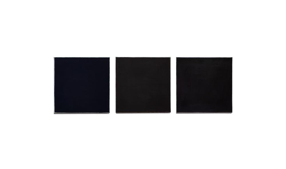 dunkle Studie, 2015, Pigmente auf Lwd, 3 Tafeln je 35x35 | studio scuro, pigmenti su tela, 3 tavole cad. 35x35