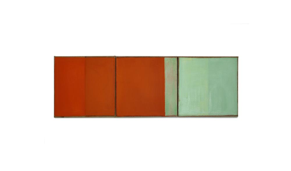 Lichtgewicht 2, 2016, Pigmente auf Lwd, 3 Tafeln je 35x35 | peso della luce 2, pigmenti su tela, 2 tavole cad. 35x35