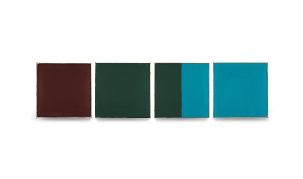 drei Viertel, 2014, Pigmente auf Lwd, 4 Tafeln je 35x35 | tre quarti, pigmenti su tela, 4 tavole cad. 35x35