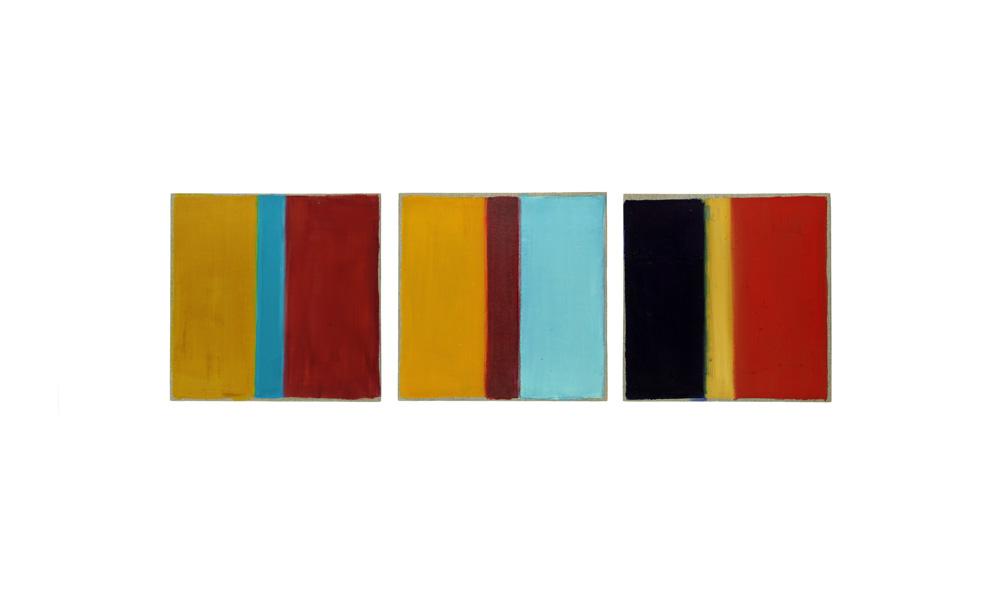 Versuch, 2014, Pigmente auf Lwd, 3 Tafeln je 35x35 | prova, 2014, pigmenti su tela, 3 tavole cad. 35x35