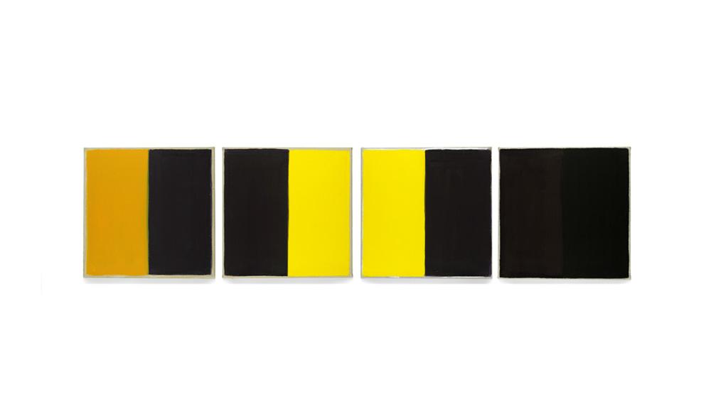 Versuch, 2014, Pigmente auf Lwd, 4 Tafeln je 35x35 | prova, pigmenti su tela, 4 tavole cad. 35x35