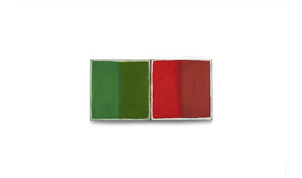 grün-grünrot-rot, 2014, Pigmente auf Lwd, 2 Tafeln je 35x35 | verde-verderosso-verde, pigmenti su tela, 2 tavole cad. 35x35