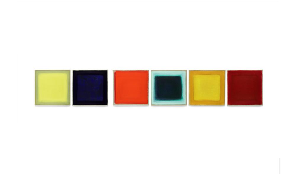 Farbsatz II, 2013, Pigmente auf Lwd, 6 Tafeln je 35x35 | proposizione di colori II, pigmenti su tela, 6 tavole cad.35x35