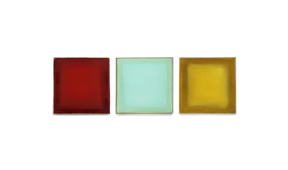 rot-blau-gelb, 2013, Pigmente auf Lwd, 3 Tafeln je 35x35 | rosso-blu-giallo, pigmenti su tela, 3 tavole cad. 35x35