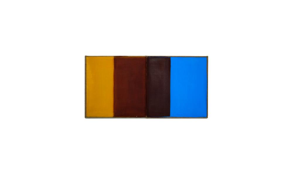 Lichtgewicht 3, 2016, Pigmente auf Lwd, 2 Tafeln je 35x35 | peso della luce 3, pigmenti su tela, tavole cad. 35x35