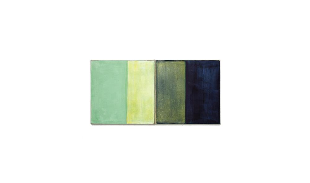 Lichtgewicht 4, 2016, Pigmente auf Lwd, 2 Tafeln je 35x35 | peso della luce 4, pigmenti su tela, 2 tavole cad. 35x35