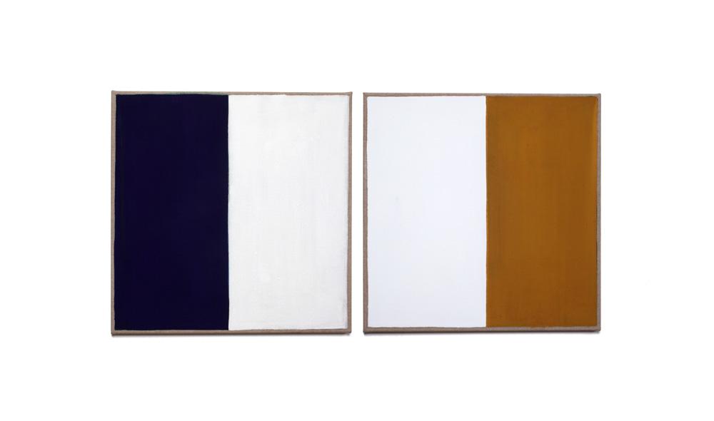 Weißkontrast, 2015, Pigmente auf Lwd, 2 Tafeln je 55x55 | contrasto di bianco, pigmenti su tela, 2 tavole cad.55x55