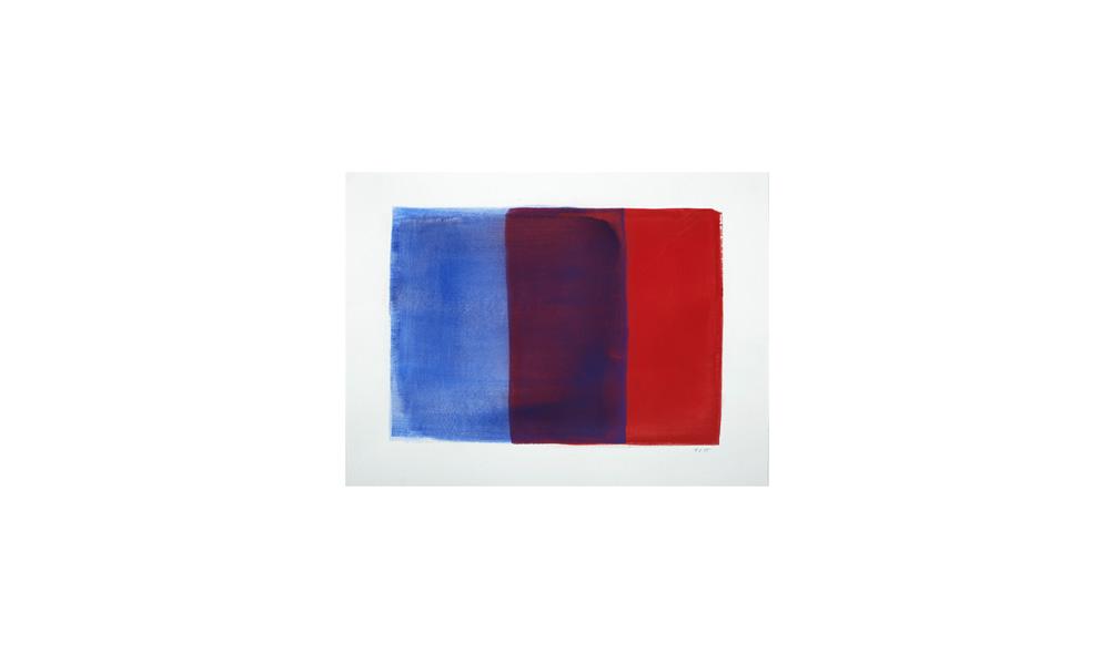 blau-rot, 2015, Pigmente auf Papier, 36x48 | blu-rosso, 2015, pigmenti su carta, 36x48