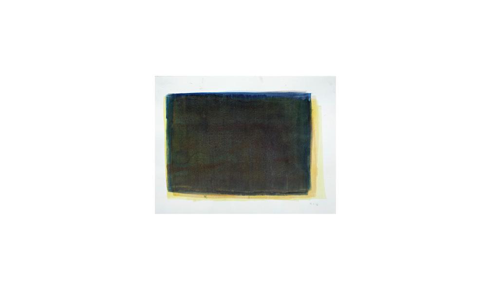 gelbdrüber, 2016, Pigmente auf Papier, 31x41 | giallo sopra, 2016, pigmenti su carta, 31x41