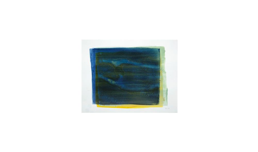 blaudrüber, 2016, Pigmente auf Papier, 31x41 | blu sopra, pigmenti su carta, 31x41