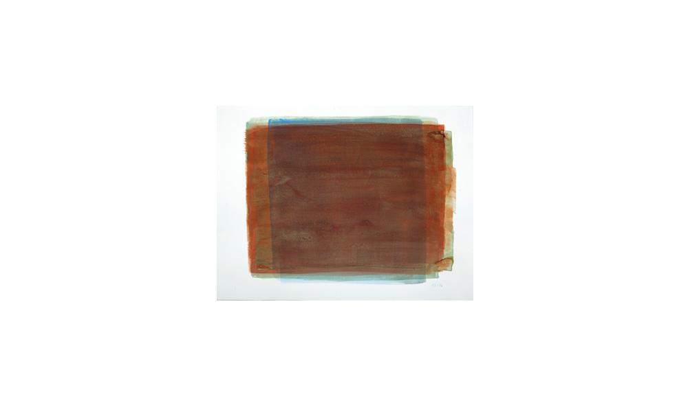 orangedrüber, 2016, Pigmente auf Papier, 31x41 | arancione sopra, pigmenti su carta, 31x41