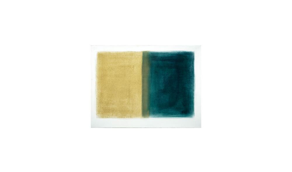 zu Aufschlag, 2015, Pigmente auf Papier, 47x64 | sul colpo, pigmenti su carta, 47x64