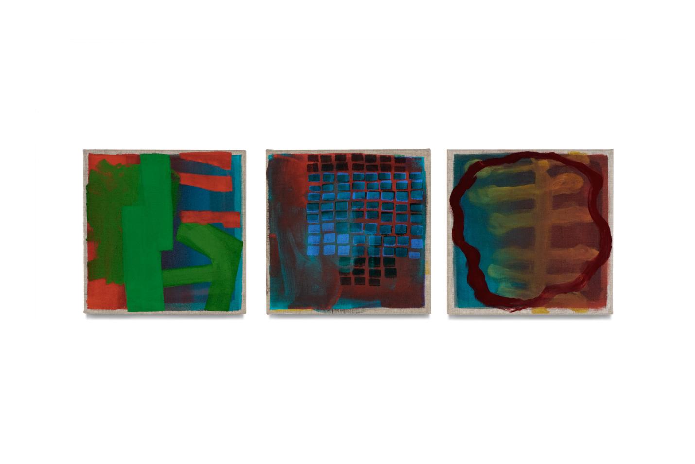 drei Köpfe, 2020, 3 Tafeln je 35x35 | 3 teste, 3 tavole cad. 35x35