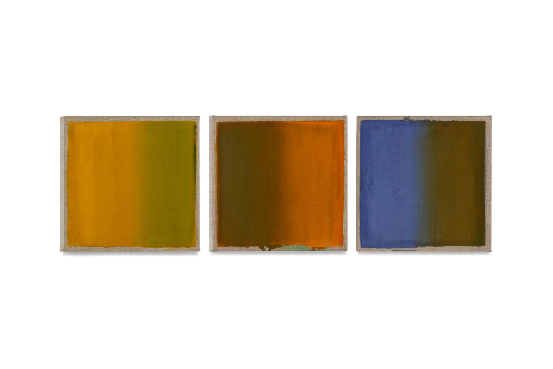 gelb rot blau, 2016, drei Tafeln je 40x40 | giallo rosso blu, 3 tavole cad. 40x40