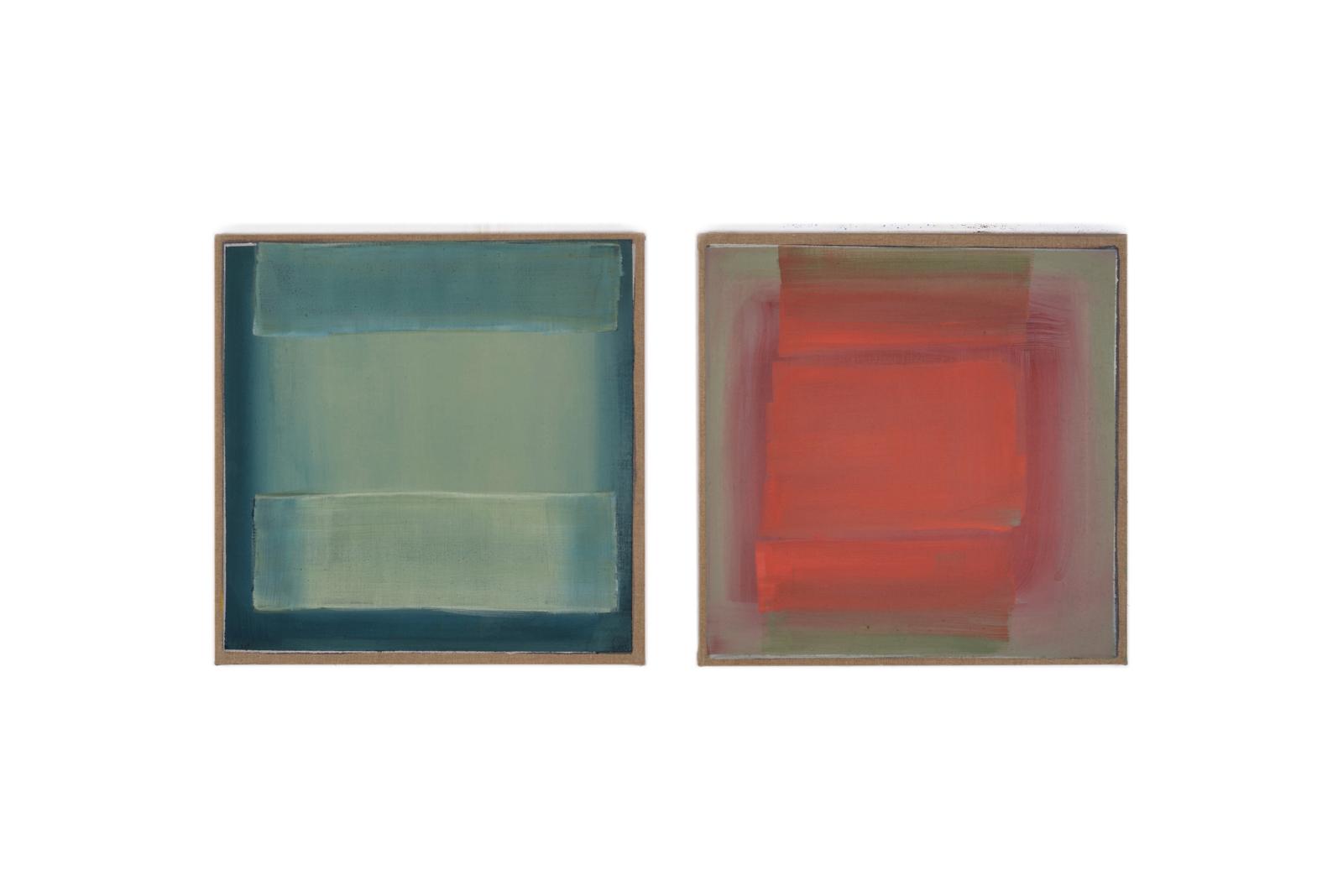 grün-rot, 2017, 2 Tafeln je 55x55 | verde-rosso, 2 tavole cad. 55x55